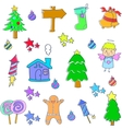 Doodle of element christmas set vector image vector image