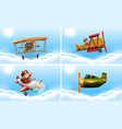 four types of airplanes vector image vector image
