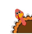Funny turkey peeking sideways on Thanksgiving Day vector image vector image