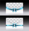 Gift cards with geometric pattern light blue bow r vector image vector image