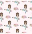 girl on pencil school seamless pattern vector image vector image