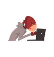 hacker in mask trying hack system using laptop vector image vector image