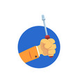 hand holding screwdriver technical service vector image