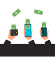 hands holding smart phone banking payment apps vector image vector image