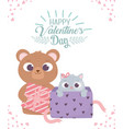 happy valentines day bear with gift and little vector image vector image