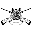 head wild boar and crossed gun vector image vector image