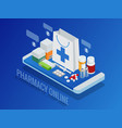 isometric pharmacy online concept finger touch vector image vector image