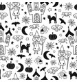 kids halloween pattern seamless monochrome vector image