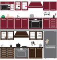 kitchen unit set with equipment eps10 vector image