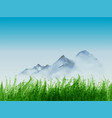 landscape with green grass and distant mountains vector image vector image