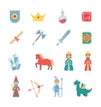 medieval games symbols flat icons set vector image