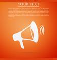megaphone icon on orange background vector image vector image