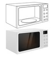 microwave oven outline drawing and 3d vector image vector image