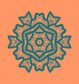 outlined print on orange color background mandala vector image vector image
