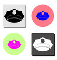 policeman peaked cap flat icon vector image