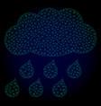 rain cloud polygonal frame mesh vector image