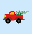 Red truck with christmas tree vector image vector image