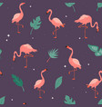 seamless pattern with flamingos and leaves vector image
