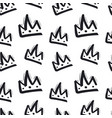 seamless pattern with hand drawn crown on white vector image vector image