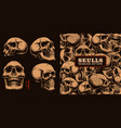 set different skulls with seamless pattern vector image vector image