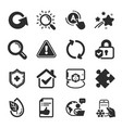 set technology icons such as medical shield vector image vector image