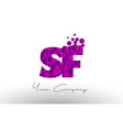 sf s f dots letter logo with purple bubbles vector image vector image