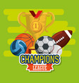 sports champions league set icons vector image