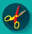 stationery colored plastic scissors icon vector image