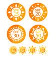 sun cream round orange labels spf set vector image