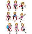 super doc caucasian female set vector image
