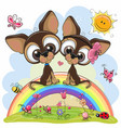 Two cute puppies are sitting on the rainbow vector image