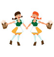 two german girl hold beer in wooden mug vector image vector image