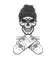 vintage monochrome skateboarder skull vector image vector image