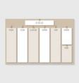 weekly schedule planner design vector image vector image