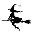 witch on broom fly silhouette vector image vector image