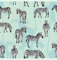 zebra blue palm background pattern vector image vector image