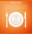 restaurant free wi-fi zone plate fork and knife vector image