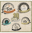Vintage style 10 anniversary sign collection vector image