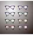 Set of Retro Glasses Isolated on Grey Background vector image