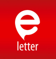 Abstract logo letter E on a red background vector image