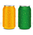 aluminum cans red and gold with many water drops vector image
