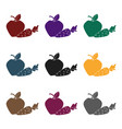 apple with carrot icon in black style isolated on vector image vector image