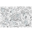 big set of hand-drawn doodles objects vector image vector image