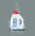 blue laundry detergent bottle mock up with water vector image vector image