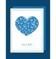 blue white lineart plants heart symbol vector image