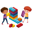 boys playing lego brick vector image