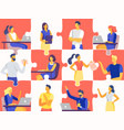 business team puzzle professional people jigsaw vector image