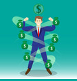 businessman surrounded by money bags vector image