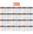 Calendar for 2018 Week starts on Sunday vector image