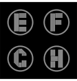 Capital letters E F G H From white stripe in a vector image